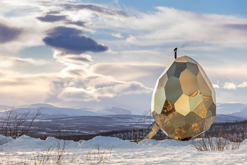 [SWEDEN] Egg-shaped Golden Sauna for the People of Kiruna