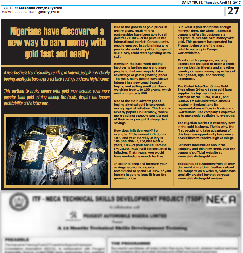 Words of Nigerian media about Global InterGold