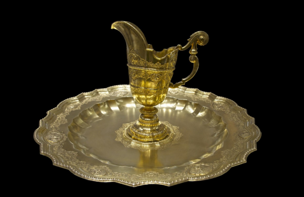 Golden dishware — luxury and privilege